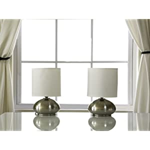 Light Accents Touch Table Lamp Set - Metal Lamps With Fabric Shades and 3-stage Touch Dimmer Switch (Brushed Nickel)