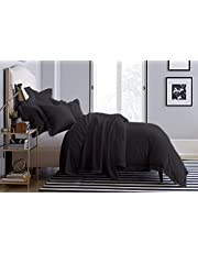800 Thread Count Ultra Silky Soft Egyptian Cotton Oversized King 120x98 Size 3-Pieces Duvet Cover Hidden Zipper Closer & Corner Ties Durable and Fade Resistant Dark Grey Solid