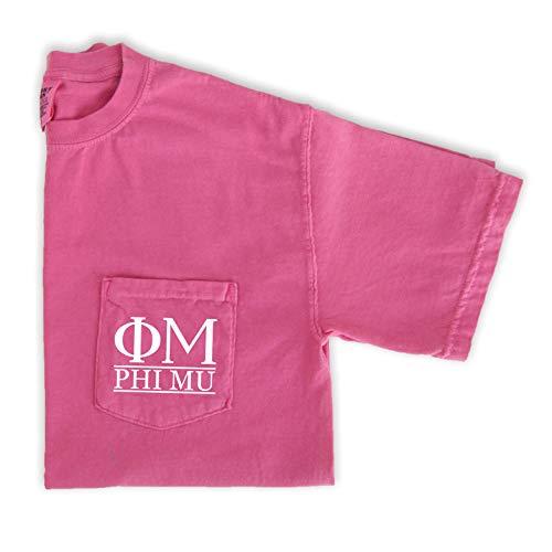 Phi Mu Block Letters Pocket T-Shirt (Large) Pink