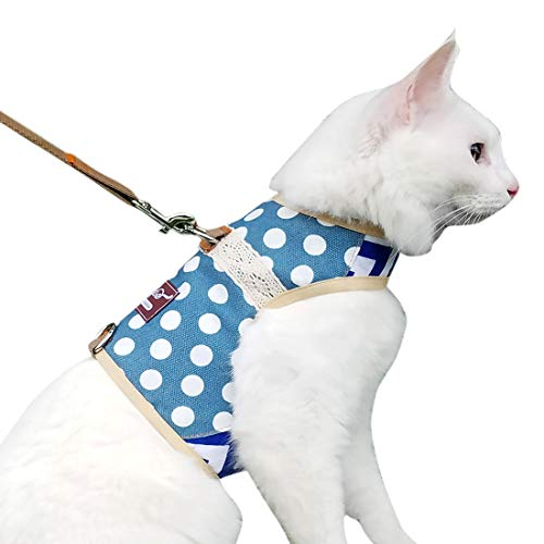 Yizhi Miaow Escape Proof Cat Harness with Leash Medium, Adjustable Cat Walking Jackets, Padded Cat Vest Polka Dot Blue
