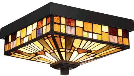 Quoizel TFIK1611VA Inglenook Outdoor Tiffany Mission Flush Mount Ceiling Lighting, 2-Light, 120 Watts, Valiant Bronze (6