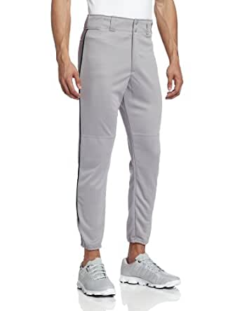 Majestic Men's 8072 Zipper Front Baseball Pant (Grey/Dark Green, XX-Large)
