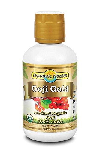 Dynamic Health Goji Gold | USDA Certified Organic Goji 100% Juice | Vegetarian, Gluten-Free, BPA-Free, Dietary Supplement | 16oz, 16 Serv (Pure Wildharvested Goji Juice)