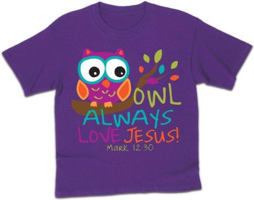 Owl, Kidz Tee, SM, Purple - Christian Fashion (Jesus Youth Christian T-shirt)