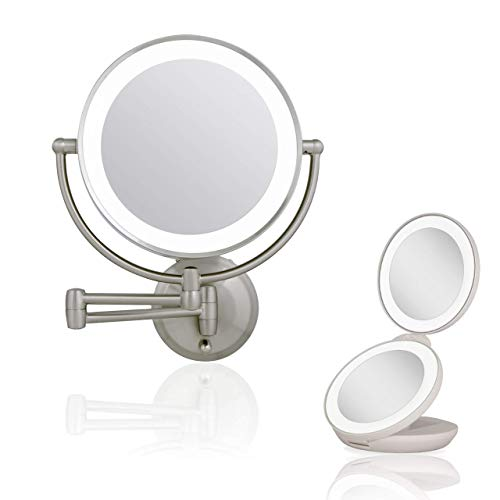 Zadro Ultra Bright Next Generation LED Lighted Wall Mount and Travel Makeup Mirror Bundle