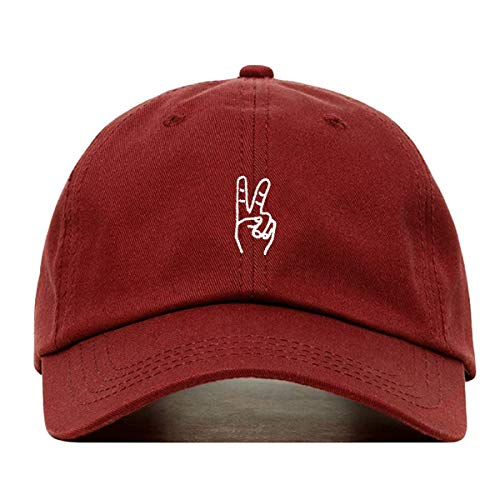 (Peace Sign Hand Dad Hat, Embroidered Baseball Cap, 100% Cotton, Unstructured Low Profile, Adjustable Strap Back, 6 Panel, One Size Fits Most (Multiple Colors) (Burgundy))