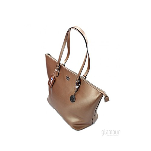 777ma17a Melody Pelle Bronze Shopping Y not metal Donna Grande Borsa C4a0O