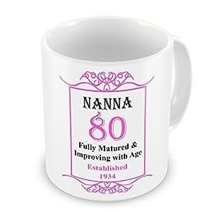 Nanna 80th cumpleaños establecido año 1934taza–rosa