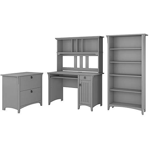 Bush Furniture Salinas Mission Desk with Hutch, Lateral File Cabinet and 5 Shelf Bookcase in Cape Cod Gray