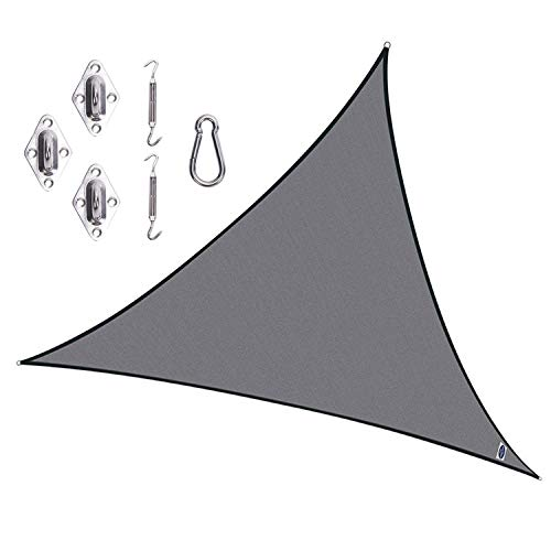 Cool Area Triangle 16 5 x 16 5 x 16 5 Durable Sun Shade Sail with Stainless Steel Hardware Kit, UV Block Fabric Patio Shade Sail in Color Graphite