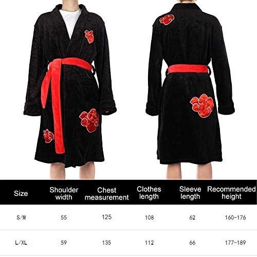 Saicowordist Naruto Akatsuki Itachi Uchiha Kimono Albornoz para hombres ropa de dormir Anime Cosplay franela Robe Nightwear Pijamas