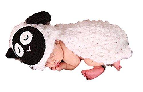 Newborn Baby Girl/Boy Crochet Knit Costume Photo Photography Prop Hats Outfits (Little Lamb)