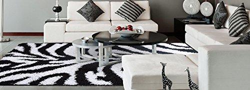 Ottomanson Black, Ivory Animal Print Zebra Design High Pile Soft Shag Area Rug (X4'7), 3'3