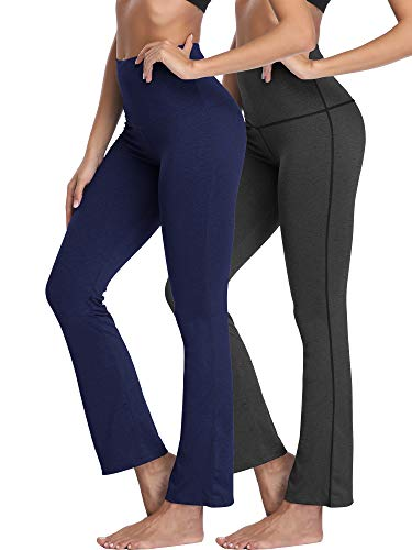 Neleus Women's 2 Pack Tummy Control High Waist Yoga Pants Bootleg Flare Pants Inner Pocket,105,Black,Navy - Girls Sports Blue Pants Flare