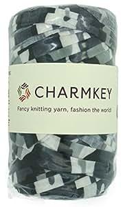 (Urban Gray) - Charmkey Camouflage Print Yarn 6 Super Chunky Natural Soft Cotton Blend Ribbon T Shirt Yarn Elastic Knitting Cloth Fabric for Bags Cushion DIY Handicraft, 1 Skein, 7.05 Oounce (Urban Grey)