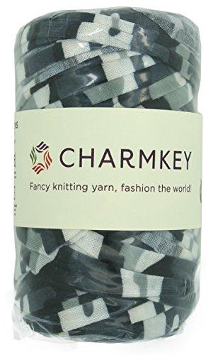 Charmkey Camouflage Print Yarn 6 Super Chunky Natural Soft Cotton Blend Ribbon T Shirt Yarn Elastic Knitting Cloth Fabric for Bags Cushion DIY Handicraft, 1 Skein, 7.05 Oounce (Urban ()