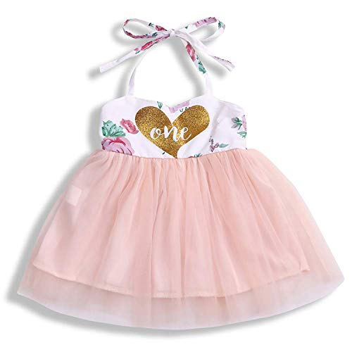 Baby Girl 1st Birthday Outfit Tutu Dress Floral Long Sleeve Lace Skirt + Headband Clothes (9-12 Months, Pink, Sleeveless)