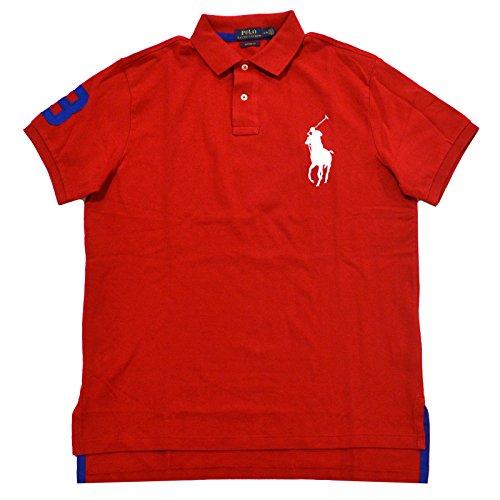 Red Big Pony - Polo Ralph Lauren Mens Custom Fit Big Pony Mesh Polo Shirt (L, Red White Pony)
