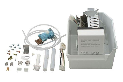 (ECK-MF51 - OEM FACTORY ORIGINAL WHIRLPOOL KENMORE MAYTAG COMPLETE ICEMAKER ADD ON KITFor porcelain liner Whirlpool, Kitchen Aid, Roper, Estate and Kenmore (with model prefix 106) refrigerator models with 30, 33 and 36 inch wide cabinets. Incorporates round plug. Kit includes wiring harness, fill tubes, water valve, ice bin, hardware and instructions)