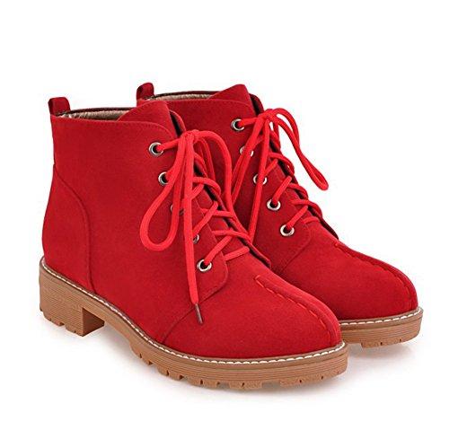 Aisun Damen Flach Schnürsenkel Martin Boots Kurzschaft Stiefel Rot