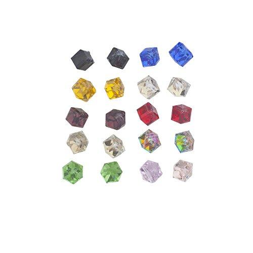 Lux Accessories Multicolor Cube Shape Birth Stone Rhinestone Earring Pack 10PR