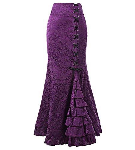 Jacquare Flower 50's Vintage Victorian Women's Punk Fishtail Skirts Purple Size 4 ()