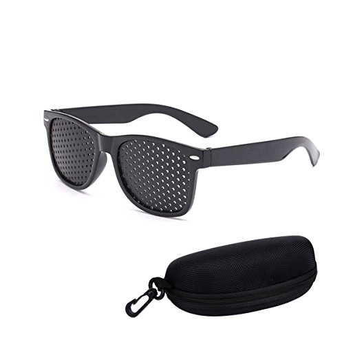 Vision Correction and Improvement Glasses, Black Resin Goggles With Small Holes, Prevention Of Near Eyesight Astigmatism Amblyopia Send glasses - Astigmatism Sunglasses