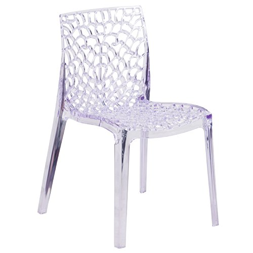 Transparent Stacking Side Chair with Artistic Pattern Design