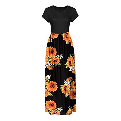 Women Maxi Tank Long Dress, Lady Summer Casual Crew Neck Short Sleeve Sunflower Print Beach Sundress with Pockets (XX-Large, Black) by LANTOVI Women Dress (Image #3)