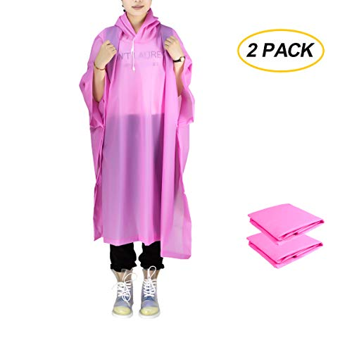 ANTVEE Rain Poncho 2 Packs for Adults with Drawstring Hood - for Hiking, Backpacking, Camping or Traveling (Pink)