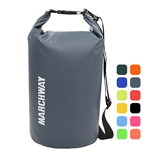 MARCHWAY Floating Waterproof Dry Bag Backpack 5L/10L/20L/30L/40L, Roll Top Pack Sack Keeps Gear Dry for Kayaking, Rafting, Boating, Swimming, Camping, Hiking, Beach, Fishing (Grey, 20L)