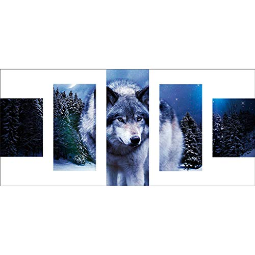 DIY Full Drill 5D Diamond Painting Kits, 5 Sets of Scenery Splicing Paintings, Adults Kids Pretty Embroidery Combination Paint Cross Stitch Craft for Home Wall Decor by Lotus.Flower (Wolf)