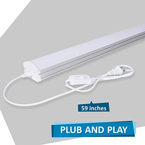 (Pack of 2) Barrina 4ft 45 Watt Extendable Utility LED Shop Light Workbench Light 6500K Super Bright White 4500lm 300W Equivalent Built-in ON/Off Switch Frosted Linear LED Light Bar by Barrina (Image #2)