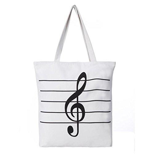 Womens Shopper Treble Clef Musical Zip Canvas Tote Music Teacher Shoulder Bag White