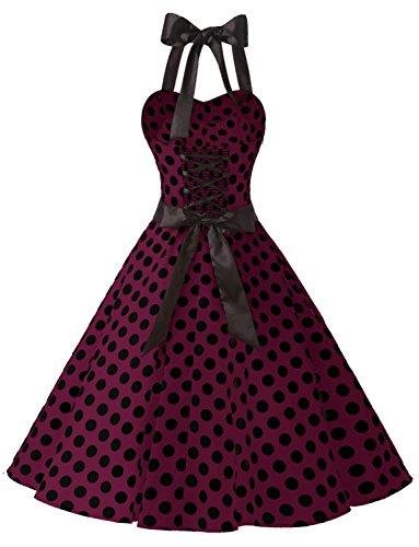 50's Rockabilly up 60's Halter À NuPois Polka Hepburn' Bal Vintage Dressystar Bordeaux 'audrey Noir De Robe dos Pin lJ3uTK5F1c