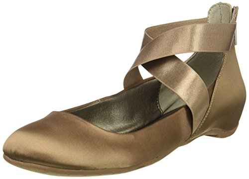 Kenneth Cole REACTION Women's Pro-time Ballet Flat with Elastic Ankle Strap, Back Zip-Satin, Mink, 8 M US