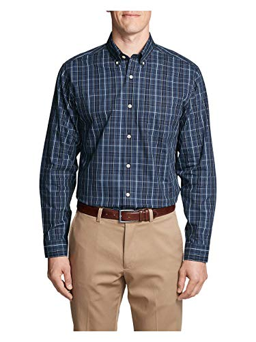 (Eddie Bauer Men's Wrinkle-Free Relaxed Fit Pinpoint Oxford Shirt - Blues, Midnig)