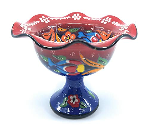 Handmade Turkish Traditional Ceramic Pottery Footed Candy Dish or Server - Small Size (Red with Blue Stem)