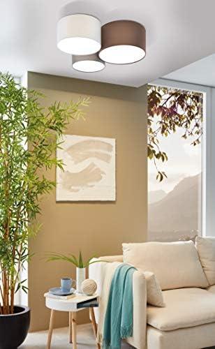 Lámpara de techo Pastore de EGLO, 3 luces de tela, material: acero, tela, color: blanco, antracita marrón, gris, casquillo: E27