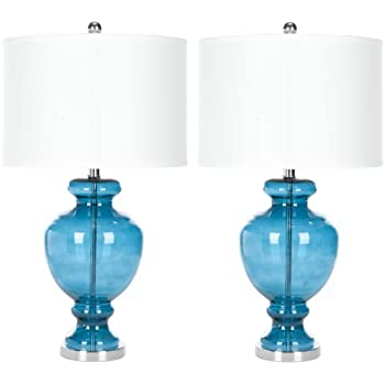 Safavieh Lighting Collection Morocco Blue Glass 28-inch Table Lamp (Set of 2)