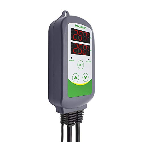 Inkbird Pre-Wired Dual Stage Digital Temperature Controller Outlet Thermostat 110V, 1100W Heating and Cooling Multi-purpose Controllers for Aquaria, Reptile Keeping, and Brewing Fermentation Kegerator
