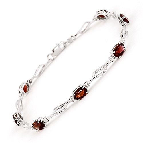 QP joailliers naturel & Diamant Bracelet en or blanc 9carats Grenat, 3,38CT Coupe ovale-1523W