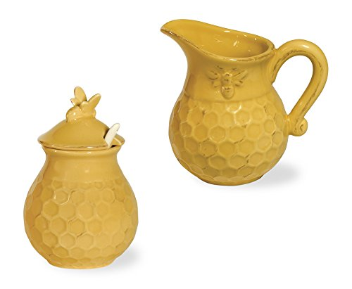 Boston International Honeycomb Ceramic Cream and Sugar Set, Honey