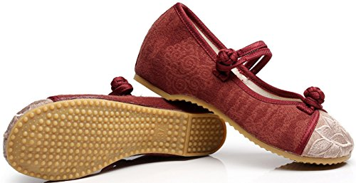 Satuki Scarpe Ricamate Fatte A Mano Per Le Donne, Mocassino Casual Stile Cinese Casual Piatto Scarpe Rosse