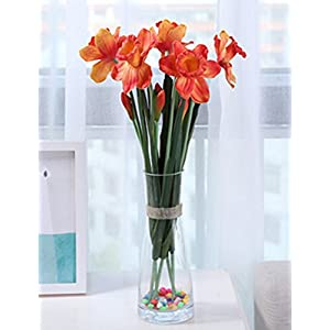Skyseen 3PCS PU Real Touch Lifelike Artificial Daffodils Fake Narcissus Flower Wedding Home Party Decoration (Sunset Red) 100