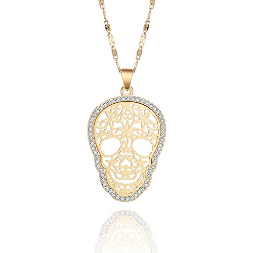 Rhinestone Lock Heart Necklace (Women's Choker Necklace,Fashion Skull Pendant Necklace for Girls Long Chain Necklace with CZ Crystal Shining Rhinestone Necklace (Gold Plated Skull Pendant))