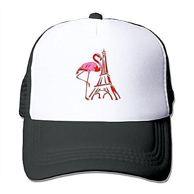 Paris Eiffel Tower Pink Flamingo Men's Women's Adjustable Snapback Hats Dad Hats | Baseball Caps Mesh Back