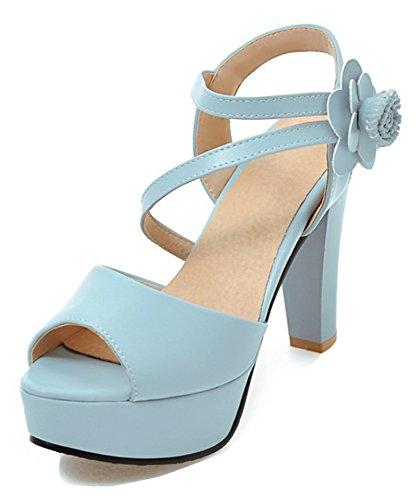 Aisun Kvinna Strappy Blomma Krok Och Ögla Dressat Chunky Hög Klack Peep Toe Plattform Sandaler Med Ankelbandet Blå