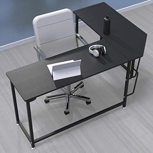 VIVOHOME Contemporary L Shaped Home Office Corner Computer Desk Black -