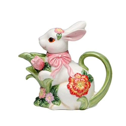 (Cg 10445 White Bunny with Pink Ribbon & Flower Designs Teapot Collectible)